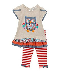 Rare Editions® Baby Girls' Owl Paisley Denim Top And Pants Set