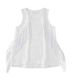 Calvin Klein Jeans Girls' 7-16 Sleeveless Solid Fringe Tank Top