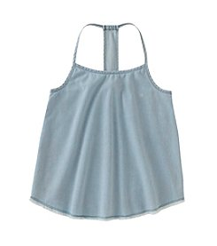 Calvin Klein Jeans Girls' 7-16 Sleeveless Chambray Racerback Fringe Tank Top