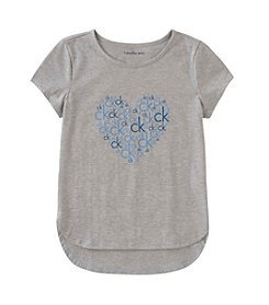 Calvin Klein Jeans Girls' 7-16 Short Sleeve Screen Print Heart Logo Tee