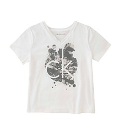 Calvin Klein Jeans Girls' 7-16 Short Sleeve Screen Print Liquid Logo Tee
