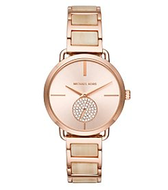 Michael Kors® Women's 36mm Rose Goldtone Pavé Acetate Bracelet Watch