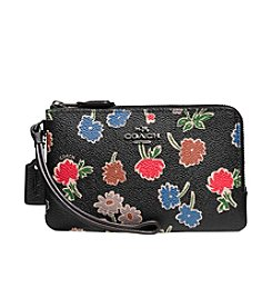 COACH DOUBLE CORNER ZIP WRISTLET IN DAISY FIELD PRINT CANVAS