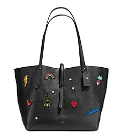 COACH MARKET TOTE IN POLISHED PEBBLE LEATHER WITH SOUVENIR EMBROIDERY