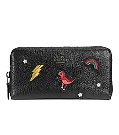 COACH ACCORDION ZIP WALLET IN GRAIN LEATHER WITH SOUVENIR EMBROIDERY