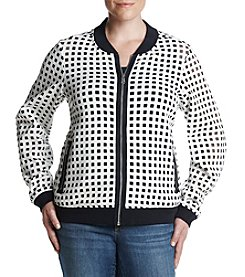 Jones New York® Plus Size Laser-Cut Bomber Jacket