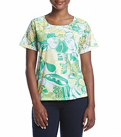 Alfred Dunner® Petites' Bahama Floral With Lace Knit Top
