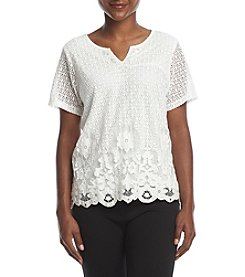 Alfred Dunner® Petites' Lace Border Top
