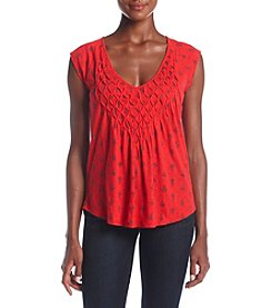 Lucky Brand® Printed Smocked Shell Top