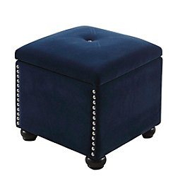 Ore International™ Suede Storage Ottoman with Extra Seat