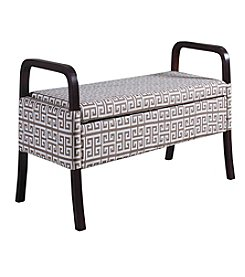 Ore International™ Greek Keyline Wooden Storage Bench