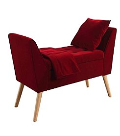 Ore International™ Mid-Century Tufted Storage Bench with Pillow and Blanket
