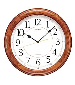 Seiko® Solid Oak Wall Clock