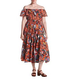 Chelsea & Theodore® Plus Size Off-The-Shoulder Floral Dress