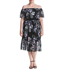 Jessica Howard® Plus Size Off Shoulder Printed Dress