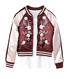 Miss Attitude Girls' 7-16 Pink Sateen Bomber Jacket And Tank Set