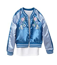 Miss Attitude Blue Sateen Bomber Jacket And Tank Set