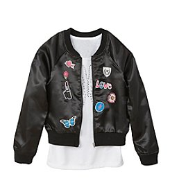 Miss Attitude Girls' 7-16 Black Sateen Bomber And Tank Set