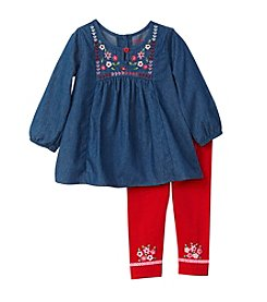 Nannette® Baby Girls' Chambray Top With Embroidered Leggings