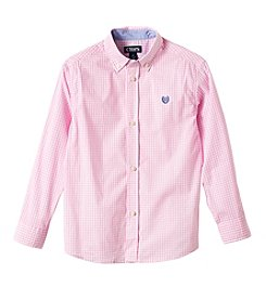 Chaps® Boys' 4-7 Long Sleeve Gingham Woven Button Down Shirt