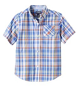 Chaps® Boys' 4-7 Short Sleeve Multi Plaid Woven Top
