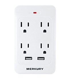 Merkury 4-Outlet USB Wall Plate With Dual USB Ports
