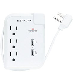 Merkury 3-Outlet Travel Charger with Dual USB Ports