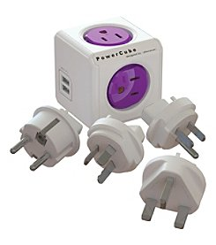 Allocacoc 4-Outlet Powercube Rewireable Travel Adapter With 2 USB Ports