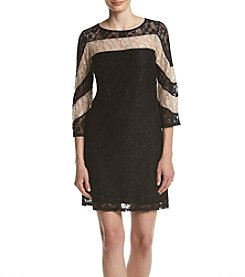 Gabby Skye® Lace Trim Bell Sleeve Dress