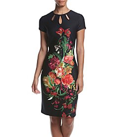 Gabby Skye Floral Printed Scuba Knit Dress