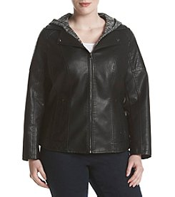Gallery® Plus Size Faux Leather Knit Hood Jacket