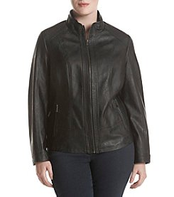 Gallery® Plus SIze Faux Leather Zip Front Jacket