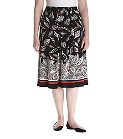 Alfred Dunner® Plus Size Saratoga Springs Leaf Print Border Skirt