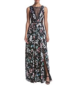 Adrianna Papell® Print Satin Chiffon Gown