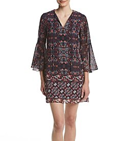 Vince Camuto® Tie Neck Bell Sleeve Dress