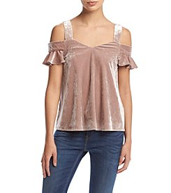 Hippie Laundry Velvet Cold Shoulder Top