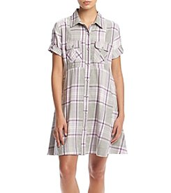 Hippie Laundry Plaid Button Up Dress