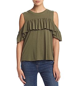 Hippie Laundry Cold Shoulder Ruffle Tee