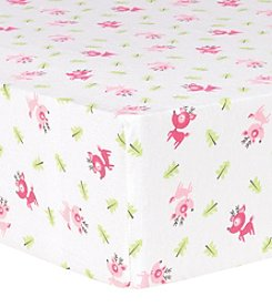 Trend Lab Pink Reindeer Deluxe Flannel Fitted Crib Sheet