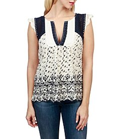 Lucky Brand® Printed Embroidered Flutter Top