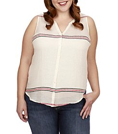 Lucky Brand® Plus Size Stripe Tie Front Tank