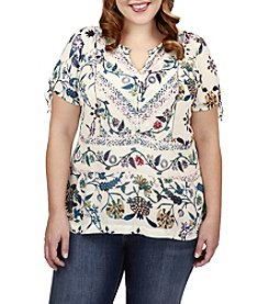 Lucky Brand® Plus Size Floral Flutter Top