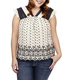 Lucky Brand® Plus Size Printed Flutter Top