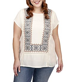 Lucky Brand® Plus Size Embroidered Woven Mix Top
