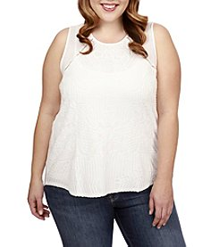 Lucky Brand® Plus Size Embroidered Shell Top