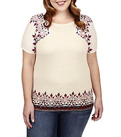 Lucky Brand® Plus Size Embroidered Tee