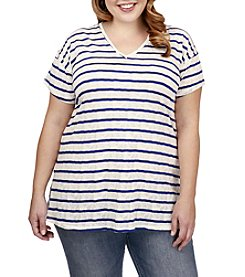 Lucky Brand® Plus Size Striped V-Neck Tee