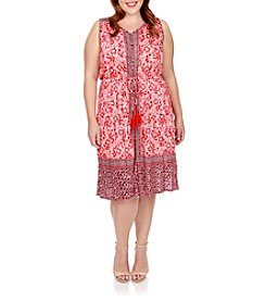 Lucky Brand® Plus Size Border Print Midi Dress