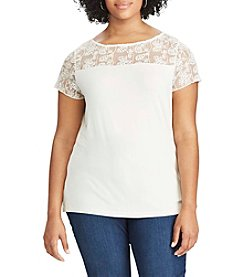 Chaps® Plus Size Lace-Trim Jersey Tee