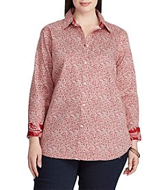 Chaps® Plus Size Non-Iron Floral Cotton Shirt